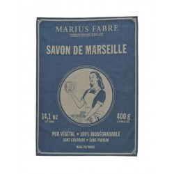 "Torchon en coton tissé, ""Savon de Marseille"" Marius Fabre"